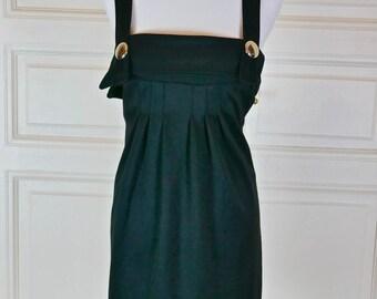 French Vintage Black Jumper Dress, European Black Suspender Dress, Little Black Dress, LBD: Size 6 US, Size 10 UK