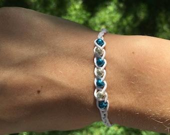 White Adjustable Beaded Bracelet