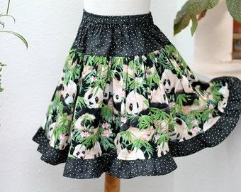 Girls Twirl Skirt Panda Girl Clothes Ruffled Girl Skirt Kids Gift for Animal Lover Children Clothing Size 2 3 4 5 6  7 8 10 12 14 Tween Gift