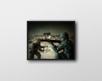 WAR GAMES NO.3 | Miniature toy photography | toy soldier wall decor | modern surreal military art print | green and brown | army men print
