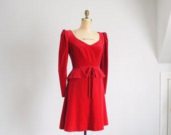 70s House of Bianchi red velvet peplum dress
