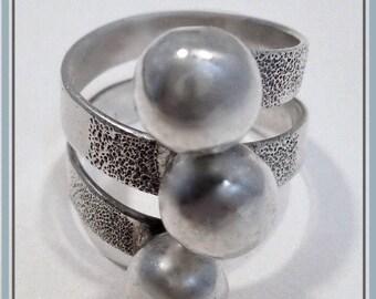 Vintage Sterling Silver Modernist Minimalist Wrap 3 Ball Wrap Ring