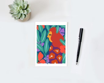 Colorful wall art, colorful print, woman illustration, nature print, leaves, flowers, woman print, plant, green, blue, orange, pink, yellow