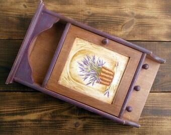 Lavender key holder Christmas gift Wooden key cabinet Key holder Key organizer Gift Wall decor Lavender Provence