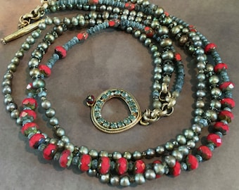 """necklace, pearls, jade, crystal, Czech, Red, Green, Peridot, beads, brass chain, rhinestone, toggle clasp, 22"""""""
