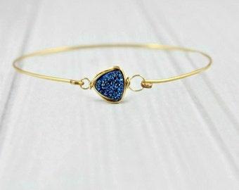 Druzy Bracelet, Stackable Bracelet, Stone Bracelet, Thin Bracelet, Minimal Bracelet,Sapphire Bracelet,Druzy Bangle,Druzy Jewelry,Gold filled