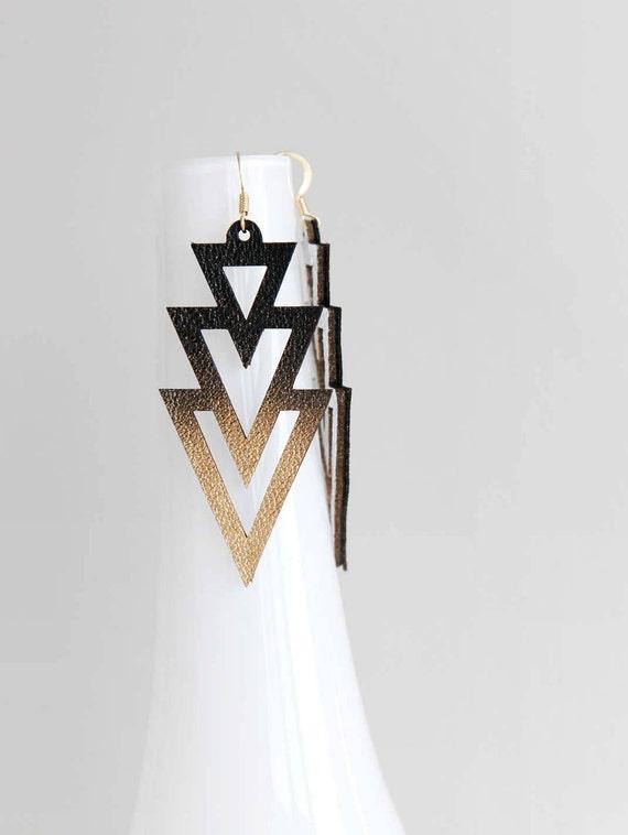 Geometric triangle drop leather earrings- modern Aztec earrings- black statement earrings- large geometric earrings- Art Deco earrings