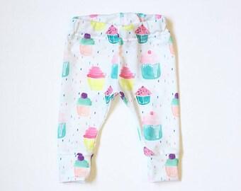 Leggings -  First Birthday Leggings - Baby Girl Clothes - Cupcake Birthday Outfit -  Baby Leggings - Handmade Cupcakes Leggings