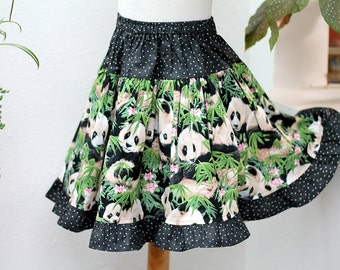 Panda Skirt Girls Twirl Skirt Panda Girl Clothes Ruffle Girl Skirt Big Girl Clothes Child Clothing Size 2 3 4 5 6  7 8 10 12 14 Preteen Gift