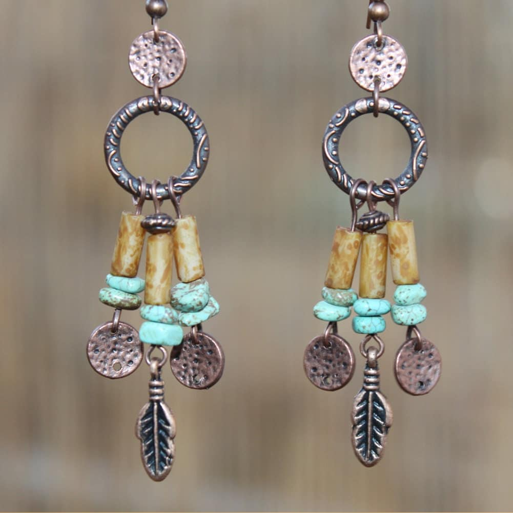 Boho Earrings Bohemian Earrings Turquoise Copper Earrings Boho