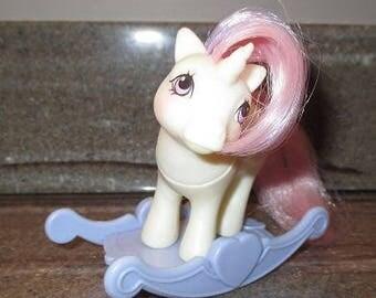 Vintage My Little Pony BABY UNICORN - MOONDANCER with Rocker - 1984 Hasbro