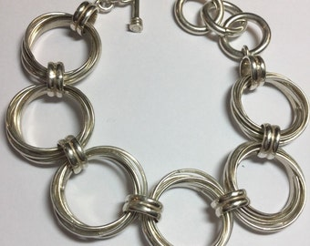 "Silpada Sterling Silver Triple Circle Link Bracelet 7 1/2-8 1/2"" Long Heavy"