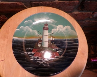 Lighthouse plate, lighthouse wall décor, man cave décor, lighthouse