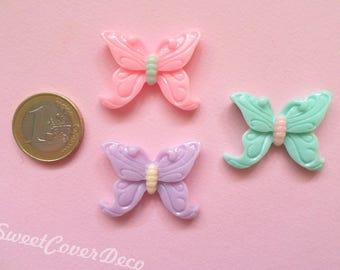 33 x 27 mm 3 Set Cabochon Butterflies Butterfly