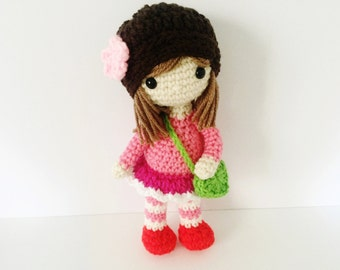 Crochet Doll / Amigurumi Stuffed Girl Doll Toy / Rose