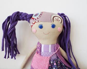 Textile Doll for Play , Handmade Rag Doll, Gift for Girl, Retro Textile Doll, Fabric Doll, Cloth Doll, Linen Doll Gift for Daughter
