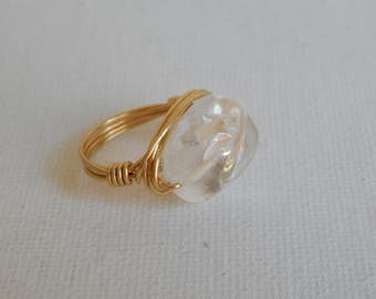 Crystal quartz nugget gold wire wrapped ring, boho style, festival jewelry, beach chic, trendy, handmade ring, statement ring
