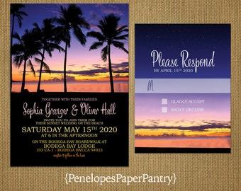 Tropical Beach Destination Wedding Invitation,Sunset Sky,Palm Trees,Romantic,Elegant,Custom,Printed Invitation,Wedding Set,Optional RSVP