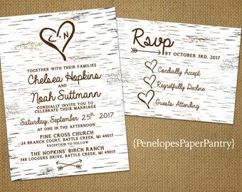 Rustic Fall Wedding Invitation,Birch Bark,Carved Heart,Carved Initials,Rustic,Simple,Romantic,Custom,Printed Invitation,Wedding Set,Envelope