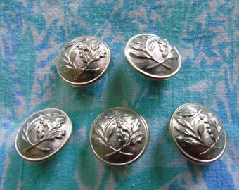A vintage/antique, silver metal/chrome button with laurel branch and oak branch impression.  In excellent condition.