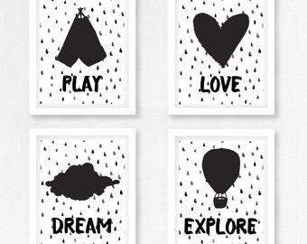 Monochrome Nursery Prints, Black and White Wall Art, Gender Neutral Baby Shower Gift, Black and White Nursery Decor, Modern Nursery Art