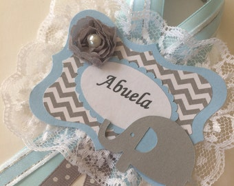 Elephant baby shower Grandma to be corsage/Boy baby shower Grandma to be pin/Elephant boy baby shower/Light blue and grey chevron baby