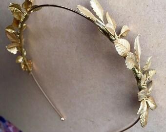 The FERNE Crown - Leaf Leaves Tiara Headband, Gold, Grecian, Elegant, Bohemian. Bride, Bridesmaid, Prom. Flower Crown.