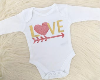 Valentines Baby Vest, Valentines Day, Baby Gift, 1st Valentines, Cupid, Love, Made in the UK
