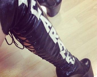 Pole dance/ Exotic dancer/ Stripper shoes/ High heels/ Custom boots with your name