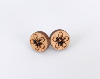 Earrings studs wood circles with flower design bamboo plywood, hypoallergenic surgical steel posts