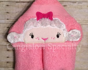Doc McStuffins Inspired Lambie Hooded Towel with 3D Ears/Baby/Kids/Adult/Baby Shower/Birthday/Christmas/Gift/Bath/Pool/Towel/Party/Beach