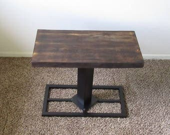 Industrial Table.  Industrial Furniture.  Industrial End Table. Reclaimed Wood Furniture.  Urban End Table. Night Stand. Argyle End Table