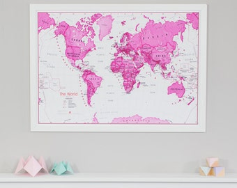 Kids Map Of The World Art Print - home decor, bedroom, playroom, push pin map, birthday gift, wall art, gift, decoration, Free Shipping