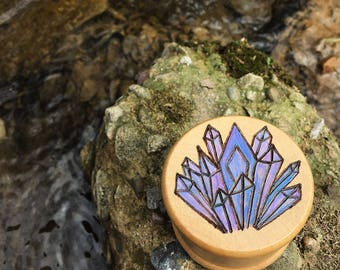 FREE SHIPPING Made to order, woodburned & hand painted crystals, wood herb grinder, crystal weed grinder