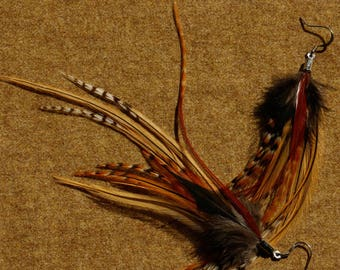 "Short Feather Earrings ""Melospiza melodia"" with surgical steel hooks"