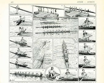 1933 Antique Rowing Print Watercraft Racing Shell Outrigger Rower home decor wall art