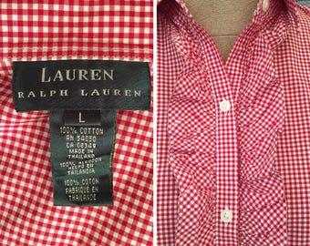 Vintage Ralph Lauren Lauren Gingham Ruffled Long Sleeve Blouse   Size Large