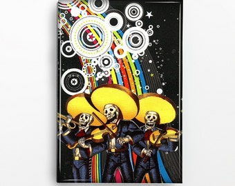 Skeletons Mariachi Rectangle Magnet 333