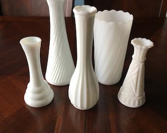 5 Vintage Milk Glass Vases