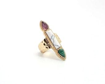 Arrowhead Ring Gold, Purple, White