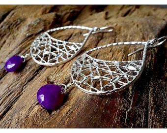 Net Earrings Purple Gemstones