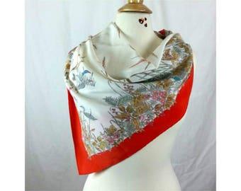 "Gucci Scarf Vintage Designer Shawl Floral Print Ducks Scene Gucci Accessories White Red Scarf Large 33"" Square Shoulder Wrap Pashmina Gucci"