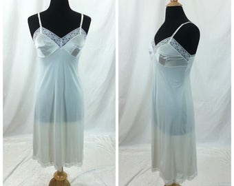 Vintage White Under Dress Size 34 Medium / white lace trim slip dress 60's 70's Vanity Fair Adjustable straps