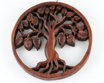 Tree of Life Carved Wall Hanging - 8 inch Tree Carving - Carved Wooden Tree for your wall 8 inch tree