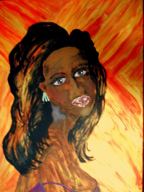 "Acrylic Painting of Woman, 24 x 30"" Canvas , JEANIE, Ethnic Folk Art  by African American Artist Stacey Torres"