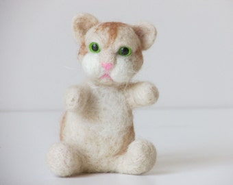 Creme and light brown needle felted kitty with green eyes