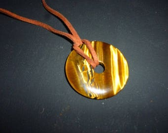 Tigers eye donut pendant on brown suede Thong cord