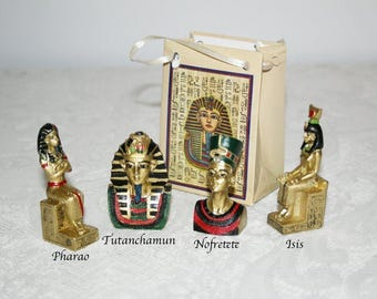 Egyptian figures, figures in a bag, gift bag, Tutankhamun, Pharaoh, Isis, Nefertiti, Hand painted