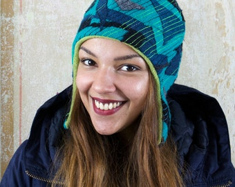 upcycling fulled loden beanie turquoise twenties