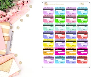 CREDIT CARD -Bill Due Stickers - Stickers, Bill Due Stickers, Planner Stickers, Planner layouts,Happy Planner, functional stickers